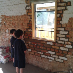 Admiring Matt's handy brickwork