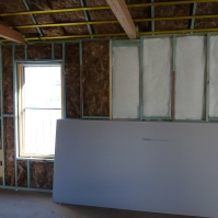 The north wall with R2.5 wool and R1.5 polyester insulation